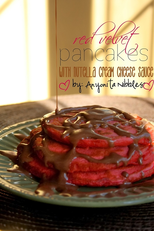Red Velvet Pancakes & Nutella Cream Cheese Sauce for Valentines Day