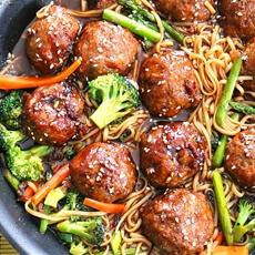 Sesame Chicken Meatballs & Lo Mein