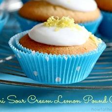 Mini sour cream lemon pound cake cupcakes