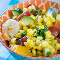 Grilled Corn and Shrimp Salad