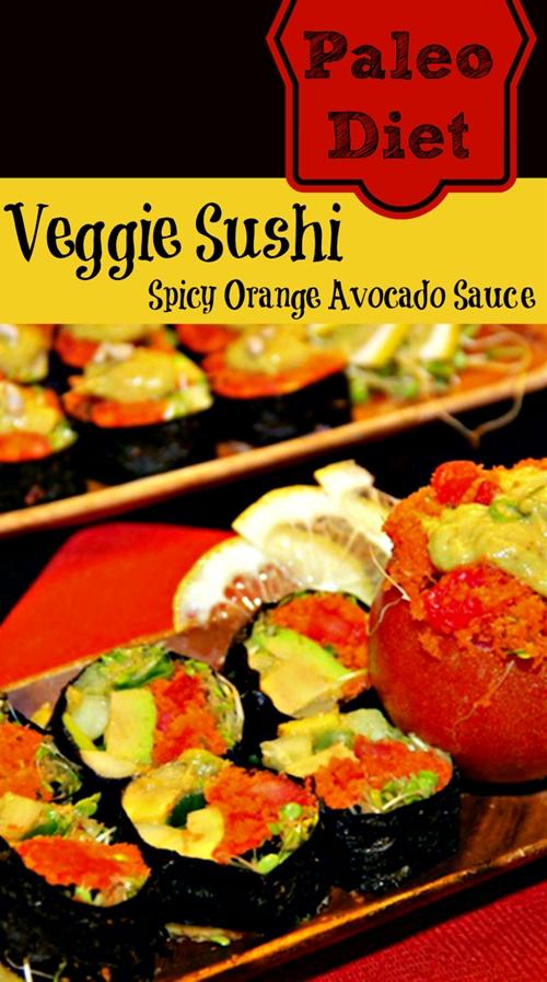 Raw Diet Sushi Rolls With Spicy Orange Avocado Sauce (Stuffed Carrot M