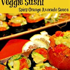 Raw Diet Sushi Rolls With Spicy Orange Avocado Sauce (Stuffed Carrot M