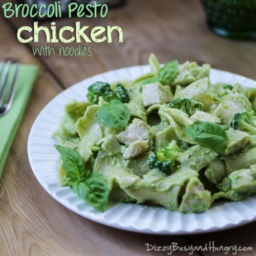 Broccoli Pesto Chicken with Noodles