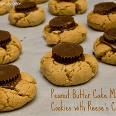 Peanut Butter Cake Mix Cookies with Reese