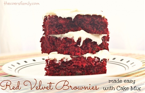 Red Velvet Brownies made with Cake Mix - The Coers Family