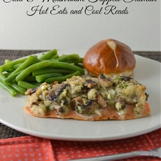 Crab and Mushroom Topped Baked Salmon Recipe