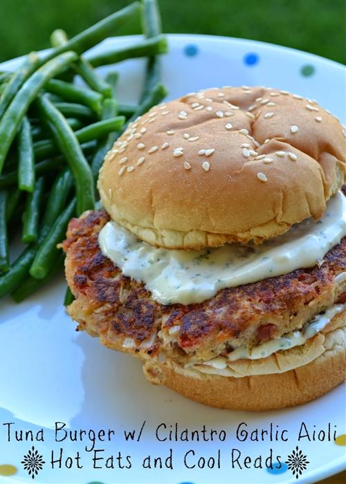 Tuna Burger with Cilantro Garlic Aioli