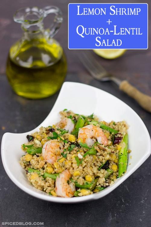 Lemon Shrimp + Quinoa-Lentil Salad