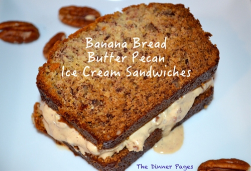 Banana Bread Butter Pecan Ice Cream Sandwiches
