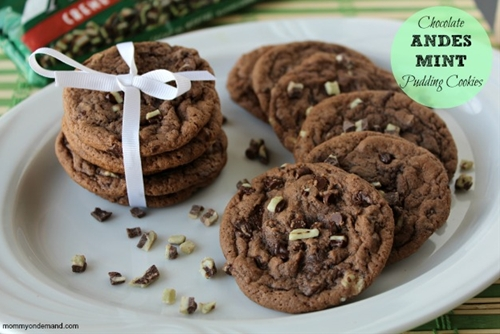 Chocolate andes mint pudding cookies