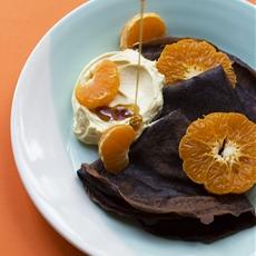 Cocoa Crepes with Creme Fraiche & Mandarin