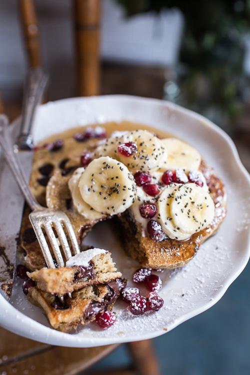 Chocolate Chip Banana and Ricotta Chia Pancakes
