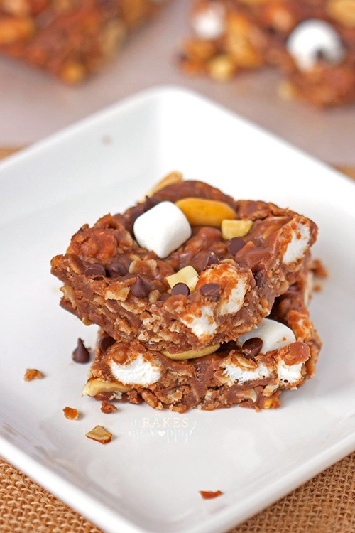 No Bake Rocky Road Squares