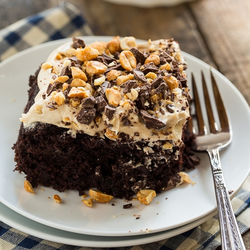 Chocolate-Peanut Butter Fun Cake recipe | Chefthisup