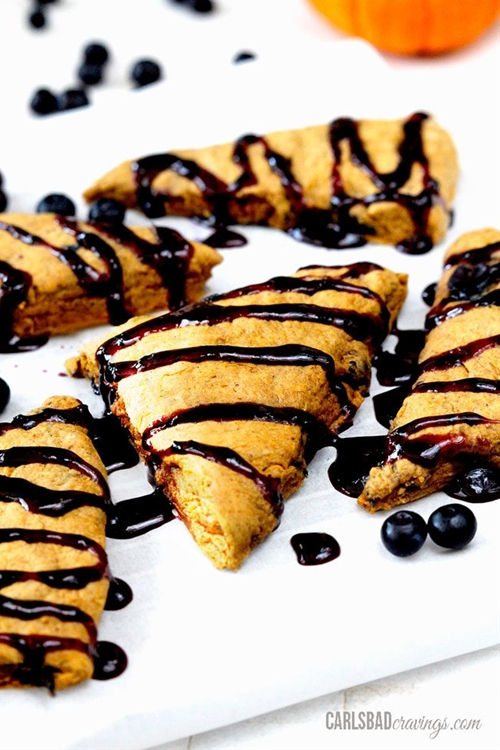 Blueberry and Orange Pumpkin Scones with Cinnamon Blueberry Drizzle