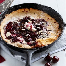Chocolate-Cherry Browned Butter German Pancake
