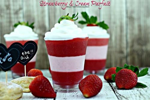 Sweet Valentines Day treat Strawberry & Cream Parfait