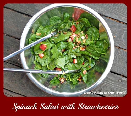 Party Worthy Spinach Salad with Strawberries