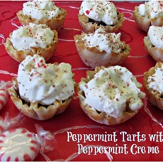 Chocolate tarts with peppermint cream