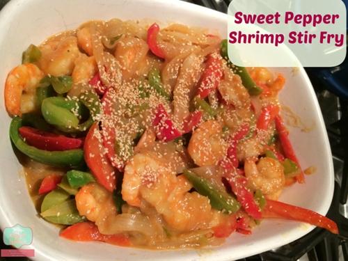 Sweet pepper shrimp stir fry