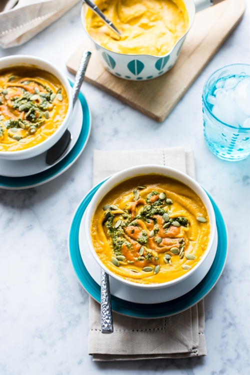 Roasted Carrot and Butternut Squash Soup with Walnut Pesto