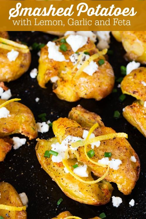 Smashed Potatoes with Lemon, Garlic and Feta