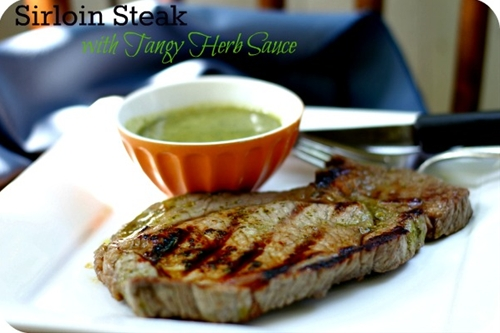 Sirloin Steak with Tangy Herb Sauce