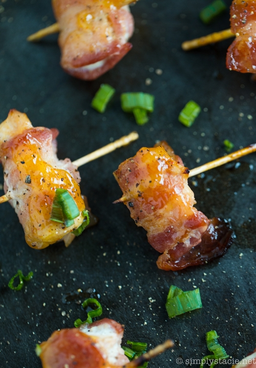 Bacon Wrapped Chicken Bites with Mango Chutney