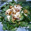 Crimini Mushroom and Crispy Potato Wilted Spinach Salad with Raspberry