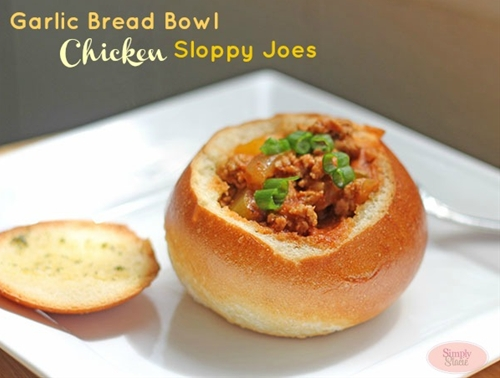 Garlic Bread Bowl Chicken Sloppy Joes