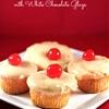 Maraschino Cherry Cupcakes with White Chocolate Glaze