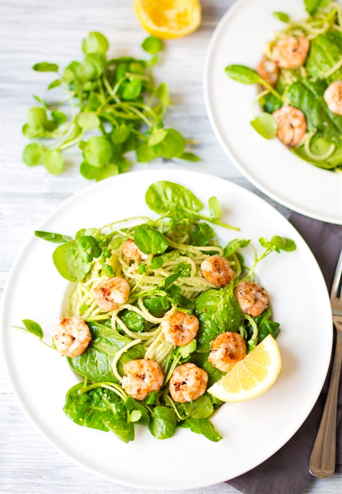 Garlic Shrimp with Chilli Pesto Pasta