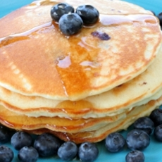 Cinnamon-Sour Cream Pancakes with Blueberries