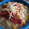Cheesy Bacon-Corn Chowder with Edamame
