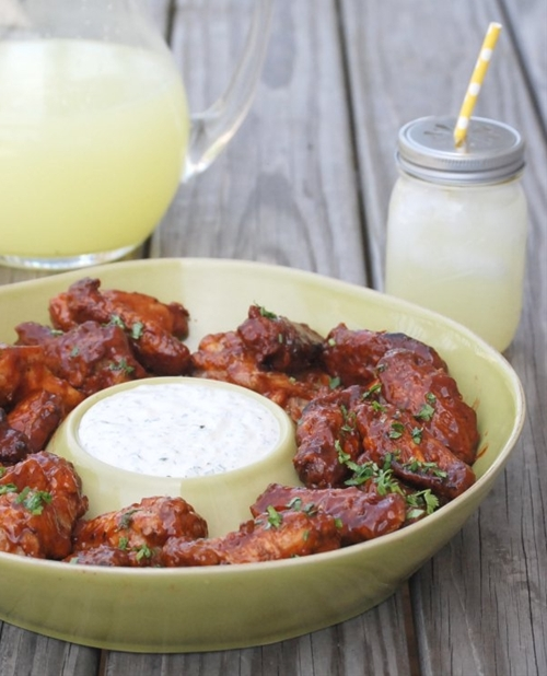 Grilled Bacon Chipotle Wings with Cilantro Ranch Dipping Sauce