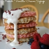 Valentine pancakes and french vanilla cream syrup