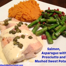 salmon, asparagus and mashed sweet potatoes recipe