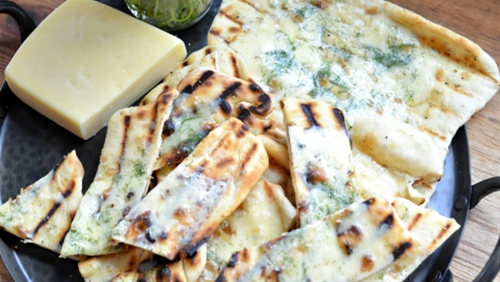 Grilled Flatbread with havarti cheese and dill