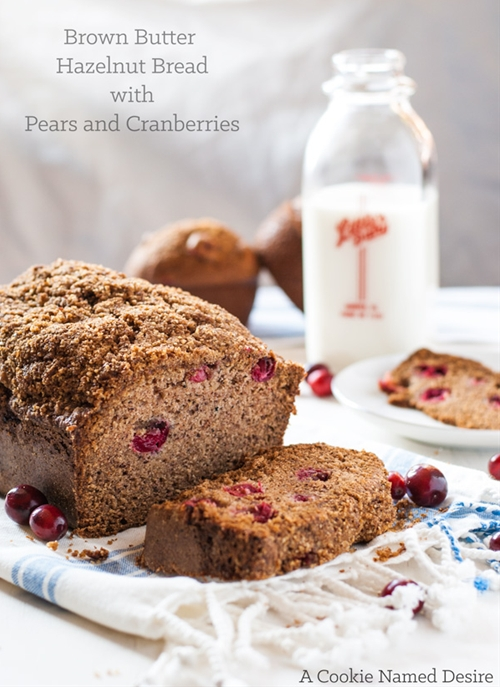 Pear, Hazelnut, and Cranberry Bread