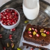 Boozy Orange Brownies with Pomegranate and Pistachio