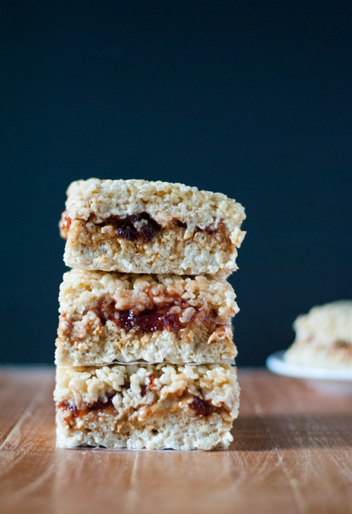Brown Butter Peanut Butter and Jelly Rice Krispie Treats