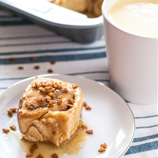 Eggnog Sticky Rolls with Maple Bourbon Pecan Filling and Eggnog Glaze