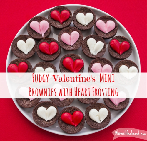 Fudgy Valentine's Brownies with Heart Frosting