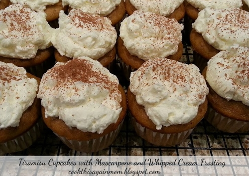 Tiramisu Cupcakes with Mascarpone and Whipped Cream Frosting