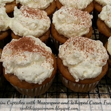 Tiramisu Cupcakes with Mascarpone and Whipped Cream Frosting