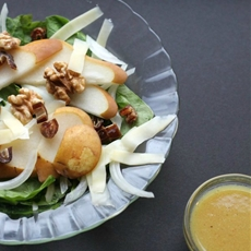 Spring Pear & Walnut Salad w Honey Mustard Vinaigrette
