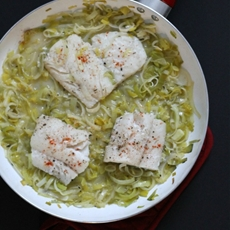 Steamed Cod with Leeks