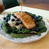 Superfood salmon salad with meyer lemon dressing