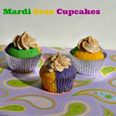 Mardi Gras Cupcakes with Cinnamon Frosting
