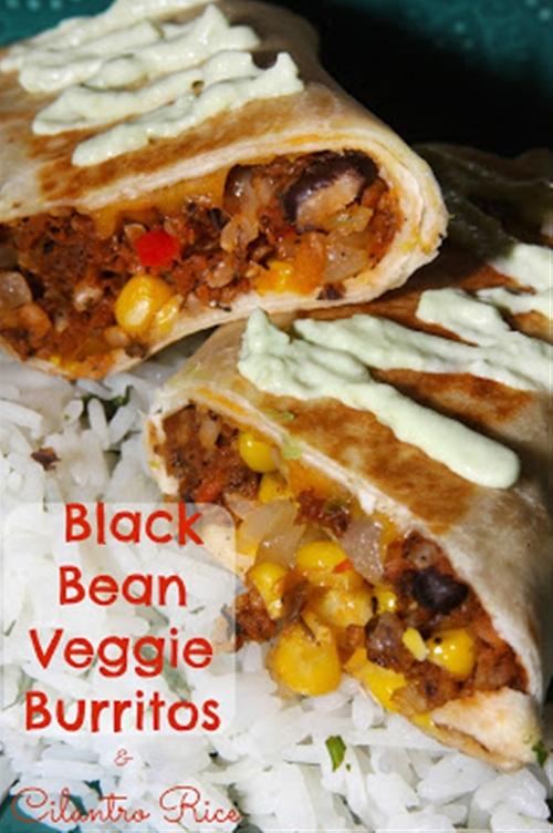 Black Bean Veggie Burritos with Cilantro Rice